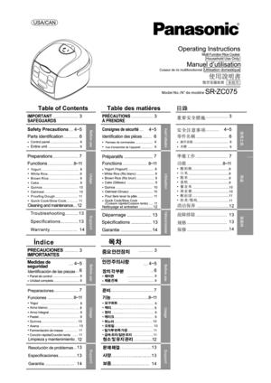 Panasonic Rice Cooker Sr Zc075 Operating Instructions