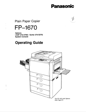 Panasonic Plain Paper Copier Fp 1670 Operating Instructions