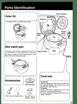 Panasonic Rice Cooker Warmer Sr Fu15ap Operating Instructions