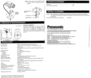 Panasonic Color Cctv Camera Wv Cp110 Operating Instructions