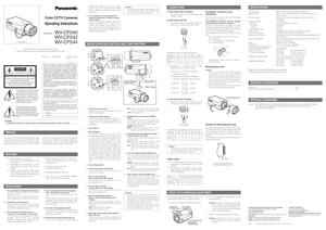 Panasonic Color Cctv Camera Wv Cp240 Operating Instructions