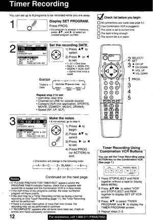 Panasonic Combination Vcr Pv M1339 Operating Instructions
