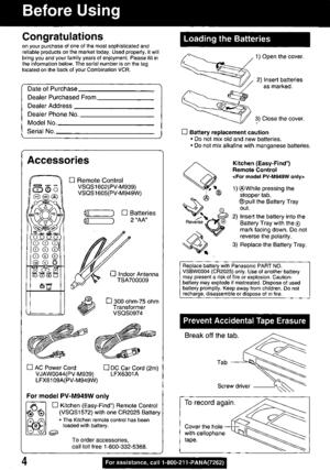 Panasonic Combination Vcr Pv M939 Operating Instructions