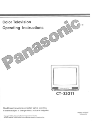 Panasonic Color Television Ct 32g11 Operating Instructions