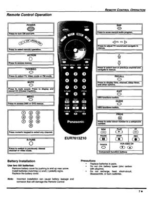 Panasonic Color Televison Ct 20sx12 Operating Instructions