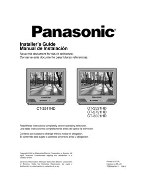 Panasonic Television Ct 2511 Operating Instructions