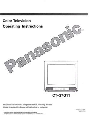 Panasonic Color Television Ct 27g11 Operating Instructions