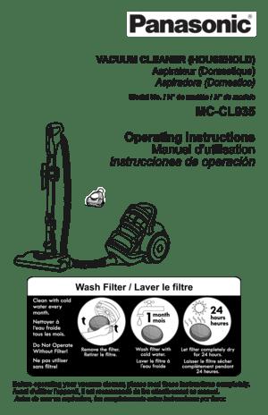 Panasonic Vacuum Cleaner MC CL935 Operating Instructions