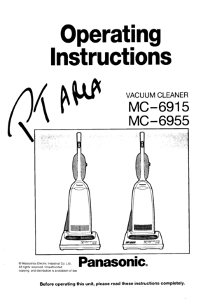 Panasonic Vacuum Cleaner Mc 6915 Operating Instructions
