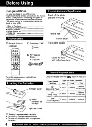 Panasonic Video Cassette Recorder Pv V4621 Operating