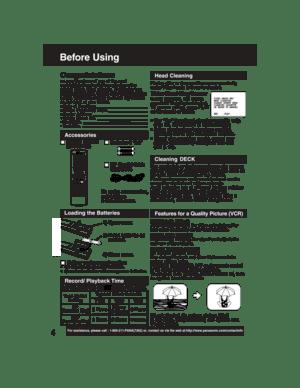 Panasonic Dvd Vcr Deck Pv D4735 Operating Instructions