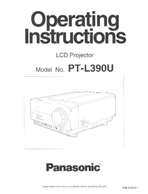 Panasonic LCD Projector PT-L390U Operating Instructions