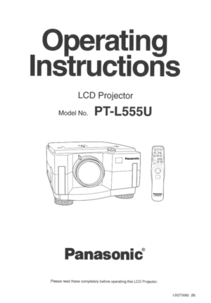 Panasonic LCD Projector PT-L555U Operating Instructions