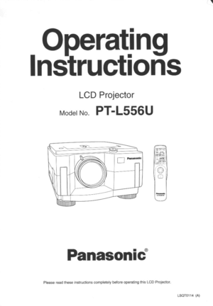 Panasonic LCD Projector PT-L556U Operating Instructions