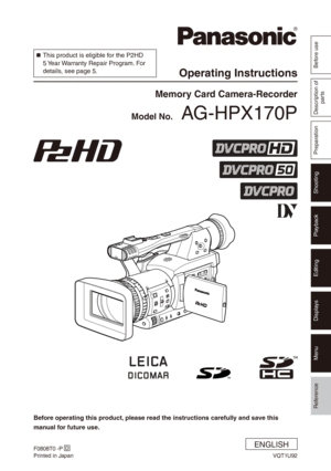 Panasonic Memory Card Camera Recorder AG-HPX170P Operating