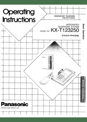 Panasonic Kx-T123250 Integrated Telephone System Operating