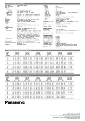 Panasonic Projector Pt D10000 Specifications