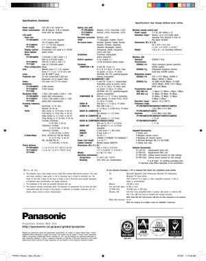 Panasonic Pt Fw100ntu Projector Specifications