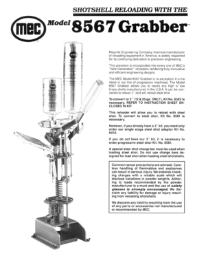 Mec Grabber 8567 Instructions Manual
