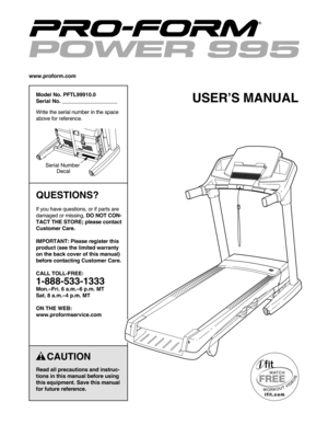 ProForm 995 C Manual