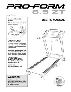 ProForm 85 Manual