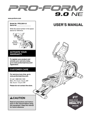 ProForm 9.0 Ne Elliptical Owners Manual