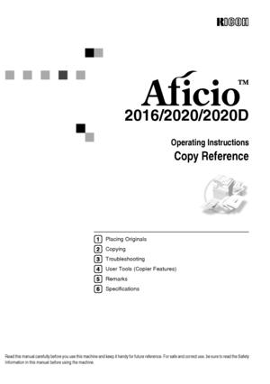 Ricoh Aficio 2016 User Manual
