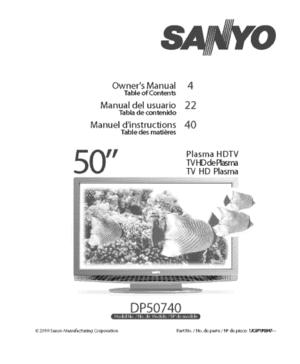 Sanyo DP50740 Plasma Hdtv Owners Manual
