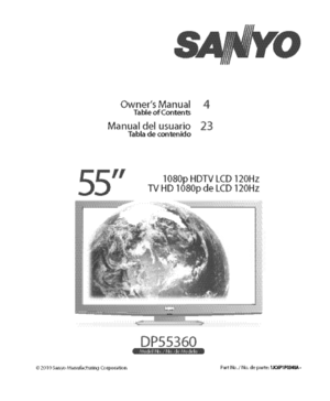 Sanyo DP55360 Hdtv Lcd Owners Manual