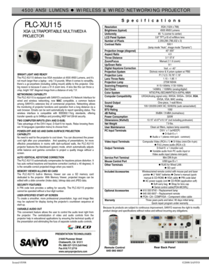Sanyo Projector Plc Xu115 Specifications