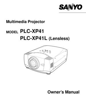 Sanyo Plc Xp41l Projector User Manual