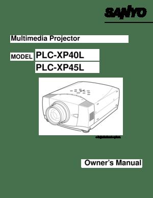 Sanyo Plc Xp45l Projector User Manual