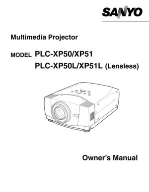 Sanyo Projector Plc Xp51 User Manual