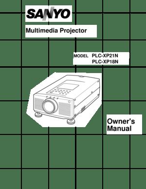 Sanyo Plc Xp18n Projector User Manual