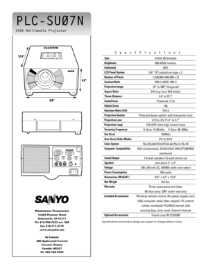 Sanyo Projector Plc Su07n Specifications