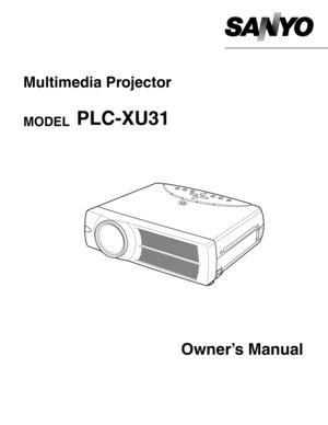 Sanyo Projector Plc Xu31 User Manual