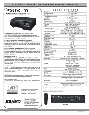 Sanyo Pdg Dxl100 Projector Specifications