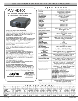 Sanyo Projector Plv Hd100 Specifications