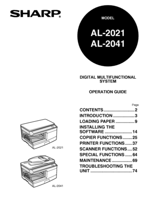 Sharp AL 2021 User Manual