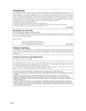 Sharp Xv Z20000 Projector User Manual