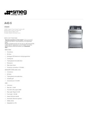 Smeg A425 Instruction Manual