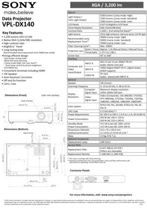 Sony Projector VPL-DX140 Specification