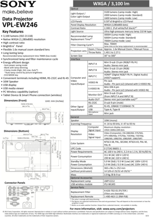 Sony Projector VPL-EW246 Specifications