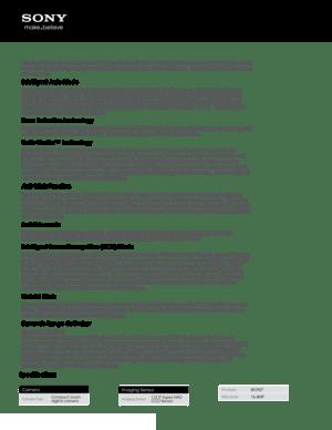 Sony Camera Cyber Shot Dsc W650 Specifications