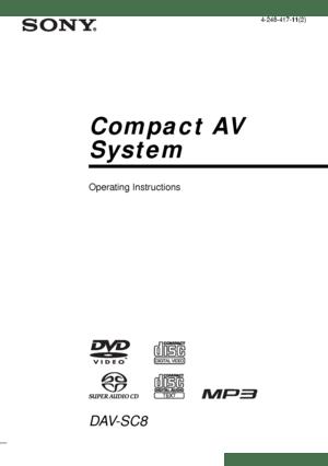 Sony Dav Sc8 Operating Instructions