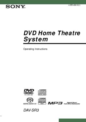 Sony Dav Sr3 Operating Instructions