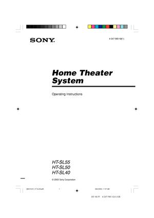 Sony Ht Sl55 Operating Instructions