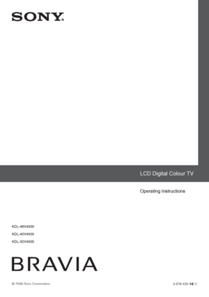 Sony Kdl 32v4000 Operating Instructions