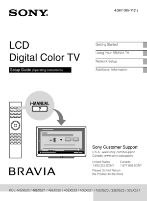 Sony Kdl 46ex520 Operating Instructions