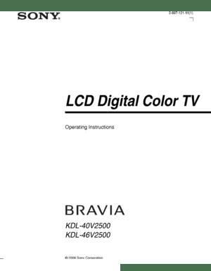 Sony Kdl 46v2500 Operating Instructions